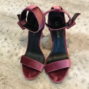 🆕Liliana Velvet Ankle Cuff Stiletto Heels in Plum